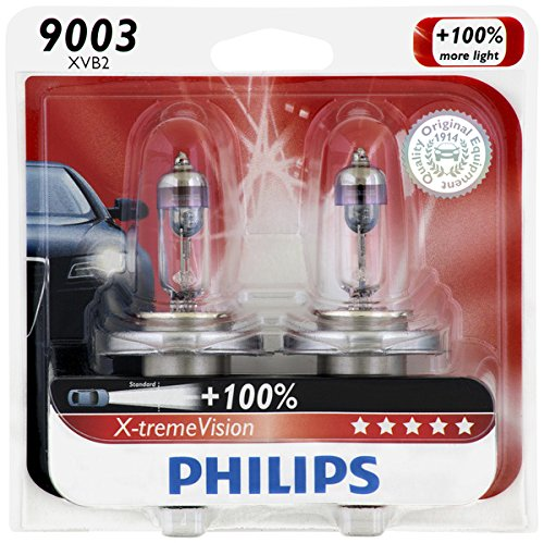 Philips 9003 X-tremeVision Upgrade Headlight Bulb, 2 Pack (Honda Pilot Headlight Assembly)