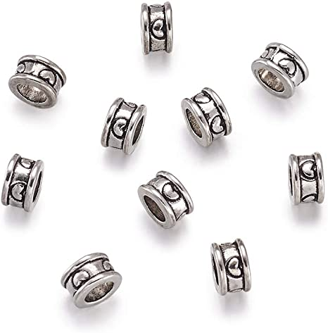400Pcs Silver Tone Flower Spacer Beads 5mm Dia.