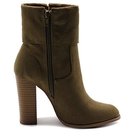 Tassel Shoe Ankle Up Ollio High Suede Heel Zip Khaki Boots Faux Stacked Back Women's 5xxqwfvP