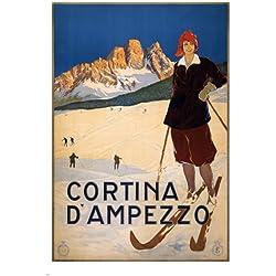 Cortina d'Ampezzo VINTAGE ITALIAN TRAVEL Ski Poster 1920 24X36 WINTER SPORT