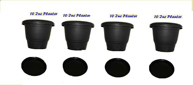 First Smart Deal 10 Inch Planter Pot with 11 Inch Tray Pack of 4 - Black