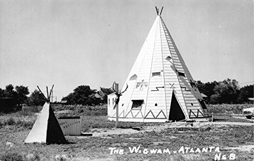 Real Photo Postcard The Wigwam Teepee Hotel in Atlanta, Nebraska~109413