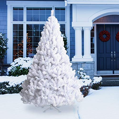 Goplus Artificial Christmas Tree Xmas Pine Tree with Solid Metal Legs Perfect for Indoor and Outdoor Holiday Decoration (White, 8 FT)