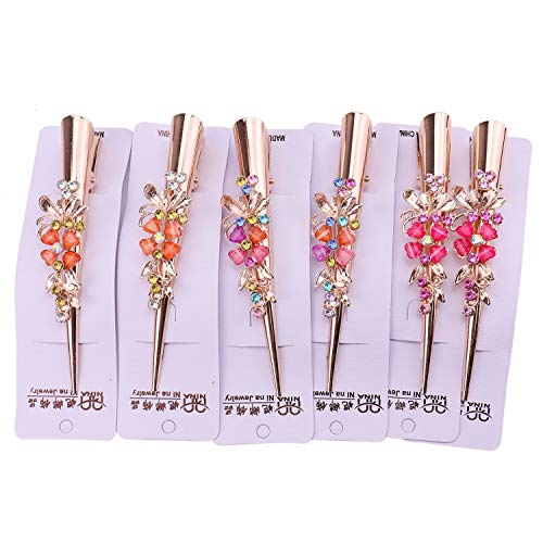 (JETEHO Set of 6 Metal Duck Teeth Bows Hair Clips Hair Grip Crocodile Accessories Hairpins Chic Styling Claw Hair Barrettes Makeover Pinch Clip Hair Alligator Clips for Women Girls)