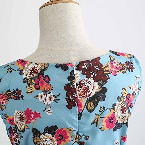 Soire Swing Manches Robe Jitong de Ligne Rockabilly pour 12 Plisse Imprime A sans Vintage Robes Style Cocktail Femmes qwv8gw6n
