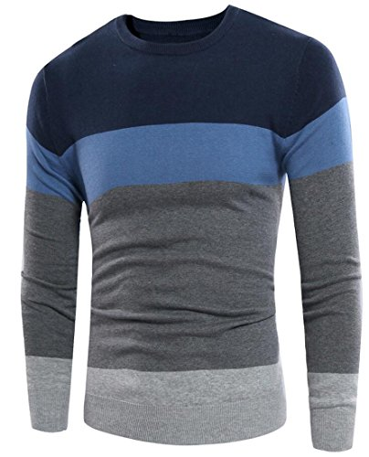 Cheap Suncolor8 Mens Casual Crew-Neck Cotton Color Block Pullover Sweater for cheap
