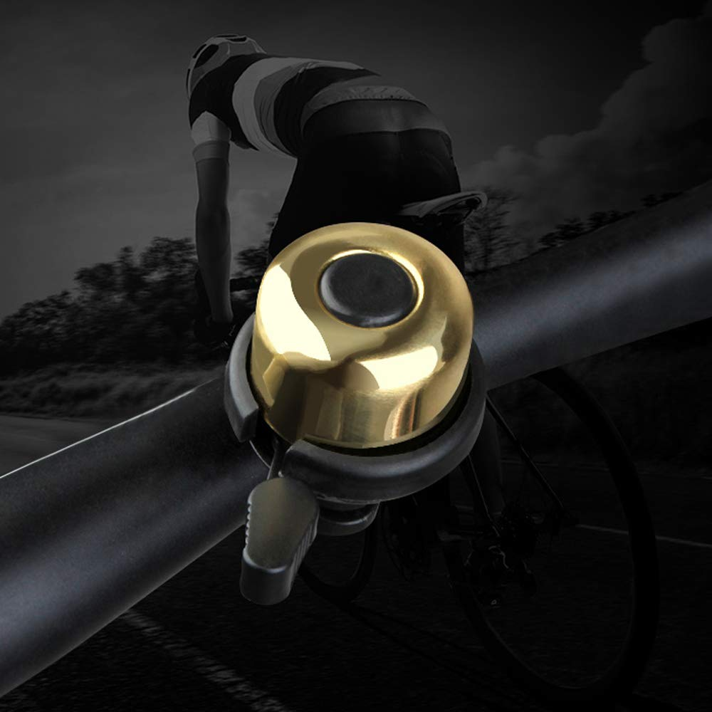 Sonku 3 Pack Bike Bell Aluminum Alloy Classic Mini Bicycle Bell Safety Warning Accessories Long Loud Clear Sound-Black,Gold and Silver