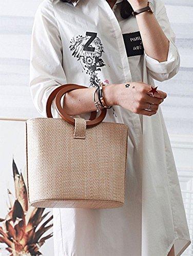 Handbags Handbags Tote Solid Top Shoulder Bag Women's Bucket Handle Big Khaki Straw Bags QZUnique Straw Bag RqSxTT