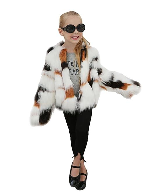 LLQ Abrigo para Niña Invierno Piel Abrigo Color de Hechizo Piel Ropa Niña Engrosamiento Piel Chaqueta Invierno Pelo Kids Fur Coat Girl Fur Coat: Amazon.es: ...