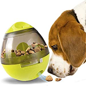 SunGrow Treat Ball Dogs & Cats IQ Mental Stimulation – Slow Eating Prevents Obesity, Improves Digestion – Bell jingles attracts pet's Attention – Fun & Interactive Food Dispenser