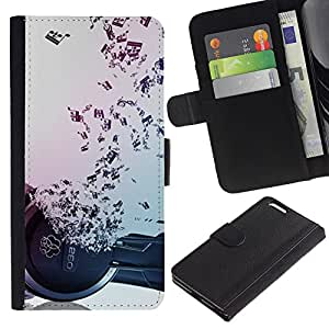 Planetar® Modelo colorido cuero carpeta tirón caso cubierta piel Holster Funda protección Para Apple (5.5 inches!!!) iPhone 6+ Plus ( Music Notes Hiphop Dance Rap )