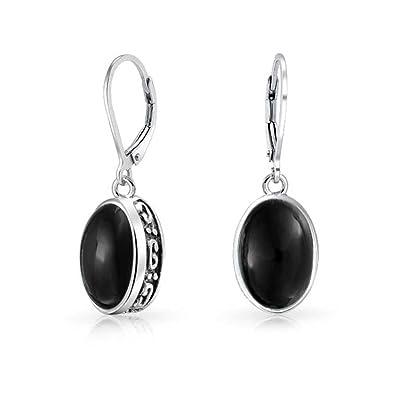 Bling Jewelry Dyed Onyx Teardrop Filigree Drop Sterling Silver Leverback Earrings 3GDvQxW