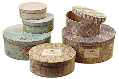 WHW Whole House Worlds Belle Fleur Stackable French Box Collection of 6, for Gifts, Storage and Decorative, Chouette Fleur Antiqued Style, Multi Color, from 7 ½ to 14 Inches L, Ovals ()