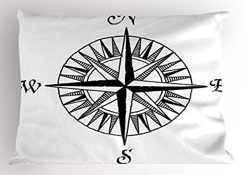 Lunarable Nautical Pillow Sham, Compass Motif with North South East West Symbols Wind Rose Marine Sea Theme, Decorative Standard Size Printed Pillowcase, 26 X 20 inches, Black and White