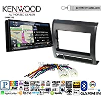 Volunteer Audio Kenwood DNX874S Double Din Radio Install Kit with GPS Navigation Apple CarPlay Android Auto Fits 2005-2011 Non Amplified Toyota Tacoma (Black textured)