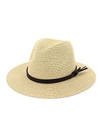EINSKEY Womens Straw Hat Summer Wide Brim Sun Hat Packable Panama Fedora Hat
