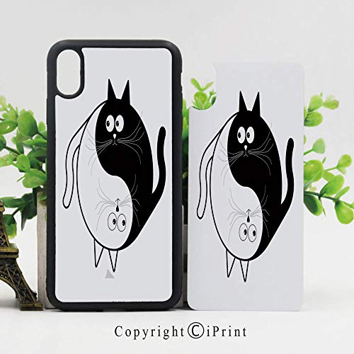Case for Apple iPhone 10 Cute Cats Cuddle Hugging Unity Ying Yang Sign Cartoon Animals Asian Feng Shui Shockproof Flexible Soft TPU Scratch Resistant Protective Reinforced Phone Cases,Black White