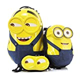 MOREFUN Minion 20'' Kids Carry on Luggage and 16'' Travel Backpack for Toddlers Minion Set 3