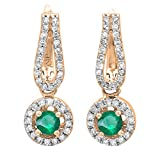 14K Rose Gold Round Emerald & White Diamond Ladies Halo Style Dangling Drop Earrings