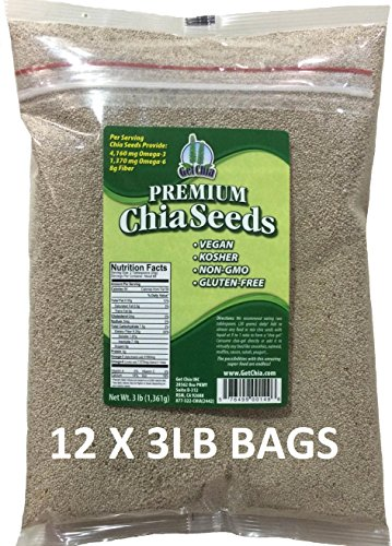 Get Chia Brand WHITE Certified Organic Chia Seeds - 36 TOTAL POUNDS = TWELVE x 3 Pound Bags by Get Chia