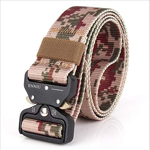 PIDAIKING Belt Men's Canvas Belt Metal Quick-Release Insert Buckle Military Nylon Training Belt Army Tactical Belts for Men Camouflage Male Strap,C