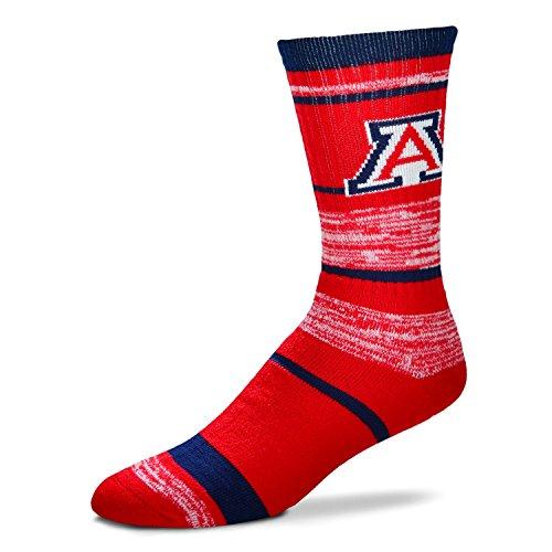 NCAA Arizona Wildcats Logo RMC Stripe Mens Crew Cut Socks - Large