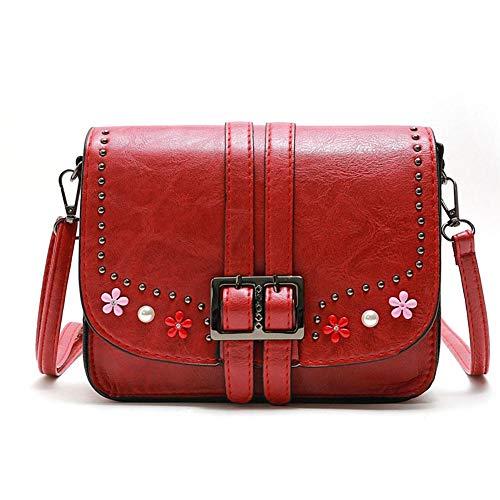 Rosso Nuovi Borsa Vintage Diamanti spalla Messenger Moda Square Piccola Rivetto Donna tracolla a stili w1qCwFg