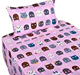J-pinno Kitty Cats Girls Double Layer Muslin Cotton Bed Sheet Set Twin, Flat Sheet & Fitted Sheet & Pillowcase Natural Hypoallergenic Bedding Set (18, Twin)