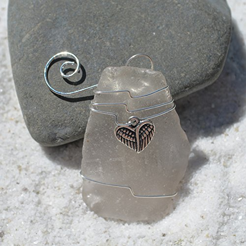 Custom Surf Tumbled Sea Glass Ornament with a Silver Angel Charm - Choose Your Color Sea Glass Frosted, Green, and Brown. ()