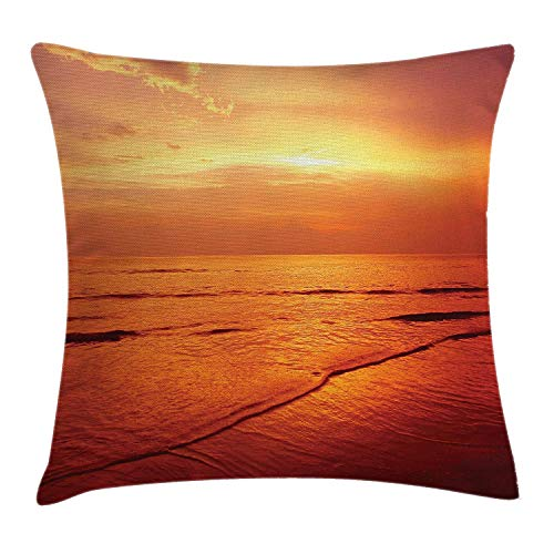 Ocean Throw Pillow Cushion Cover, Twilight Seascape at Karon Beach Thailand Exotic Vacation Getaway Destination Picture, Decorative Square Accent Pillow Case, 18 X 18 inches, Red Yellow -