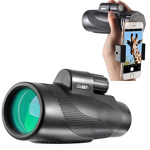 Gosky Titan 10X50 High Power Prism Monocular and Quick Smartphone Holder - Waterproof Fog- Proof Shockproof Scope -BAK4 Prism FMC for Bird Watching Hunting Camping Travelling Wildlife Secenery