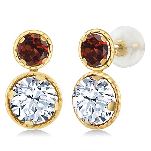 Gem Stone King 2.42 Ct Round White Zirconia Red Garnet 14K Yellow Gold Earrings