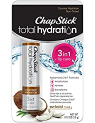 ChapStick Total Hydration (Coconut Hydration Flavor, 1 Blister Pack of 1 Stick) Flavored Lip Balm Tube, 3 in 1 Lip Care, Contains Omegas 3/6/9, 0.12 Ounce
