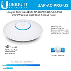 unifi ap-ac-pro (uap-ac-pro) indoor/outdoor ap. The fastest unifi model with speeds of up to 1300 mbps in the 5 ghz radio band and up to 450 mbps in the 2. 4 ghz radio band. The uap-ac-pro offers simultaneous dual-band operation. Scalable ent...