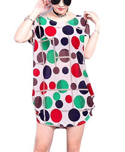 Dress Women Comfort Floral Printed Party Coolred Casual Midi 23 Breathable A86Fw