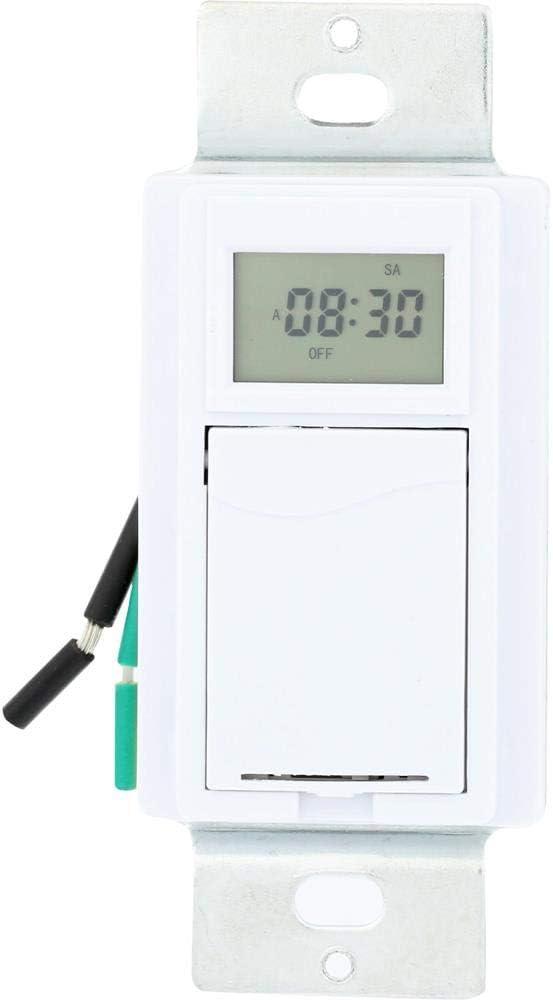 Westek TMDW30 Hardwire Indoor Digital Wall Switch Timer, White