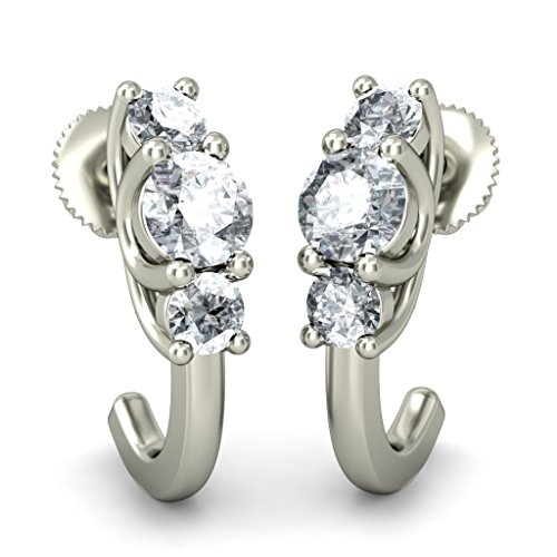 14 K Or blanc 0,59 CT TW Round-cut-diamond (IJ | SI) Boucles d'oreilles créoles