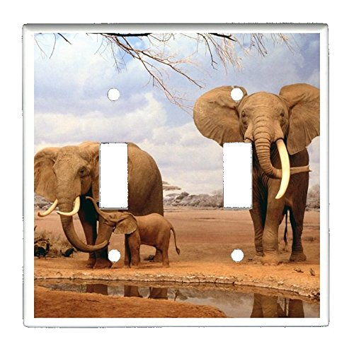 Double Toggle (2-toggle) Light Switch Plate Cover - African Wildlife Safari Animals - Africa Elephants
