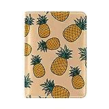 Art Seamless Pineapple Pattern One Pocket Leather Passport Holder Cover Case Protector for Men Women Travel
