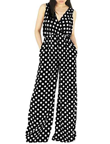(YSJERA Women's Sexy Polka Dot Adjustable Straps One Piece Maxi Palazzo Jumpsuits with Pockets (V Black Polka Dot, L))
