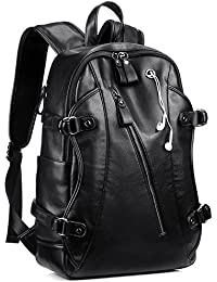 Leather Backpack, KISSUN 15.6 inch Business PU Soft Leather Backpack for Men School College Bookbag Laptop Computer Bags, PU Leather Travel Backpack