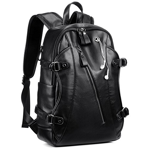 Leather Backpack, KISSUN 15.6 inch Business PU Soft Leather Anti Theft Backpack for Men School College Bookbag Laptop Computer Bags, PU Leather Travel Backpack with Headphone Ports