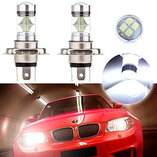 cciyu 2 Pack Xenon White New H4 6000K Cree LED 12 SMD Light