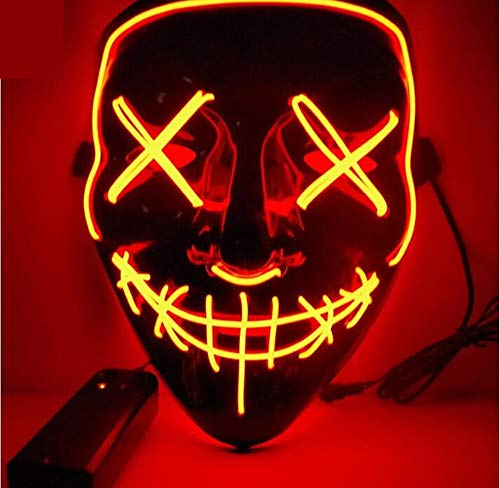 LED Halloween mask - Glowing mask The Purge mask led Rave face mask for Men Women dj Costume Halloween Carnival and Masquerade 3000+ Instagram Like ()