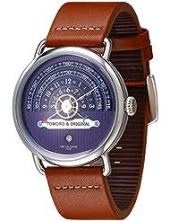 TOMORO Original Creative Hour Time Display Vogue Men Brown Geuine Leather Quartz Watch