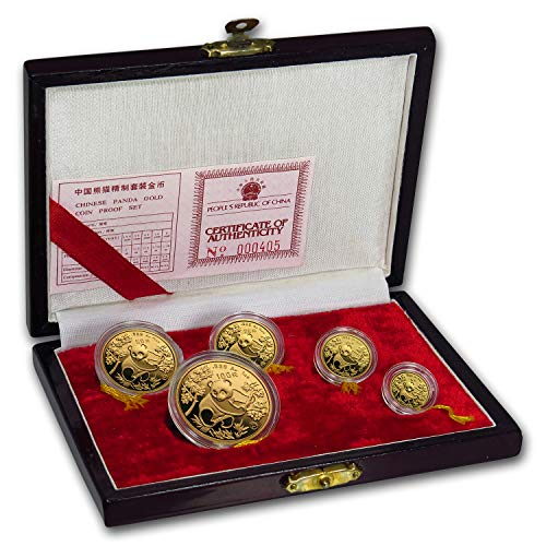 CN 1992 China 5-Coin Gold Panda Proof Set (Original Box & COA) About Uncirculated
