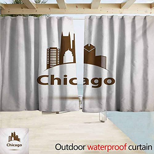 AndyTours Balcony Curtains,Chicago Skyline USA City Old Fashioned Urban in Earth Toned Retro Poster Design,Rod Pocket Energy Efficient Thermal Insulated,W63x45L Inches,Eggshell Chocolate -
