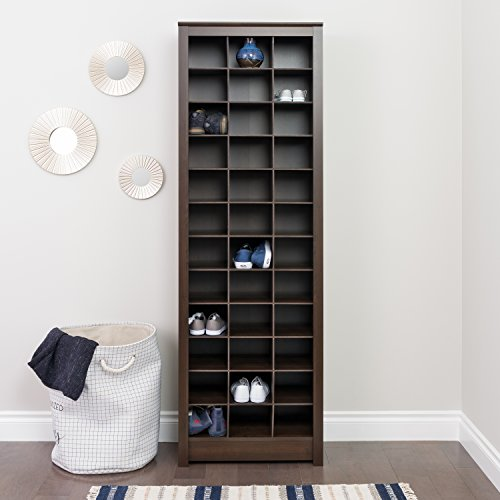 Prepac EUSR-0009-1 Shoe Storage Cabinet in Espresso 36 Pair - Shoe Storage Mudroom