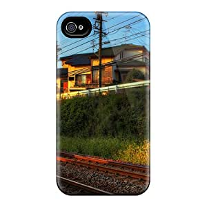 High Quality Train Track Through The City At Sunset Hdr Case For Iphone 4/4s / Perfect Case
