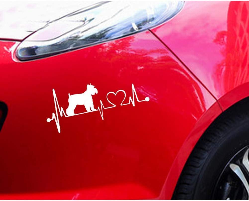 USRGSD Adesivo per Auto Schnauzer Heartbeat Dog Car Stickers Impermeabile Decalcomania in Vinile Car Styling Decorazione Paraurti